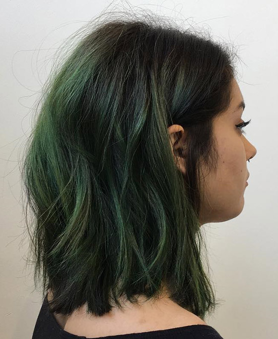 Sea-Green-Ombre-On-Messy-Long-Bob