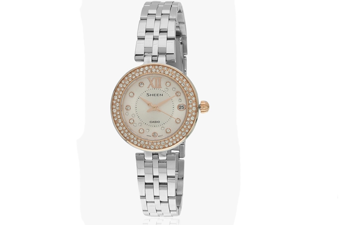 Best Selling Casio Watches For Women - 10. Silver And Stone Studded Bezel