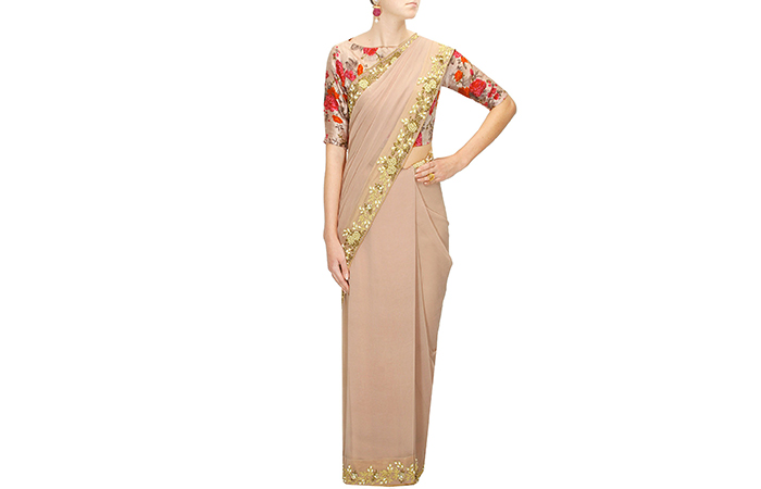 Best Georgette Sarees For Women In India - 6. Soft Pink Georgette Saree With A Floral Blouse
