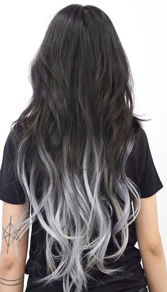 Storm Silver Ombre On Waist Length Hair