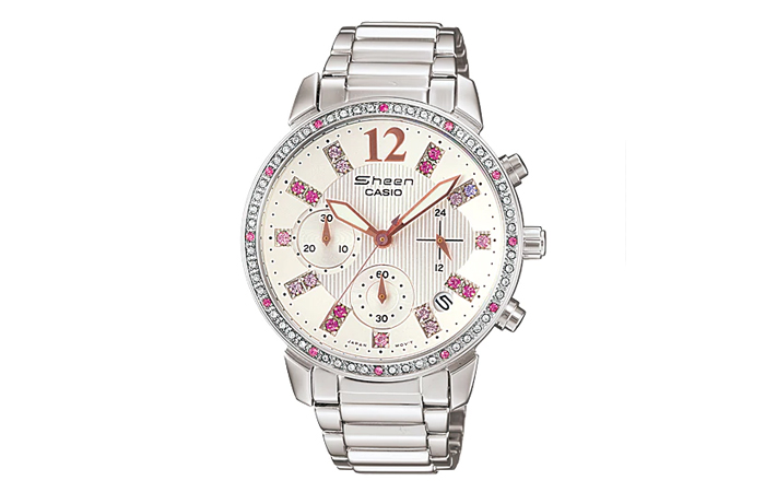 Best Selling Casio Watches For Women - 2. Swarovski And Pink Studded Bezel Watch