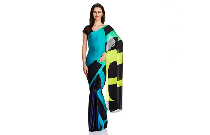 Best Georgette Sarees For Women In India - 8. Teal Blue Georgette Silk Saree With Digital Print