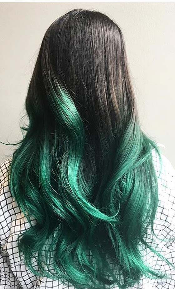 Teal-Green-Ombré-On-Long-Wavy-Hair