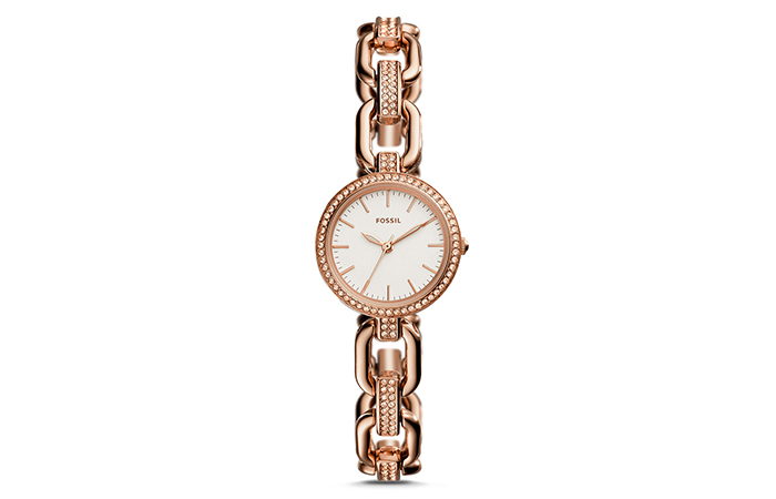 Best Fossil Watches For Indian Women - 7. Three Hand Rose Gold Crystal Watch
