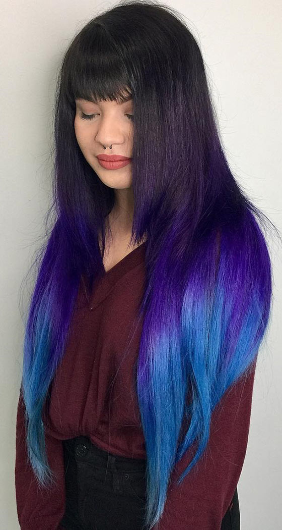 Ultraviolet-Ombré-On-Long-Layered-Hair