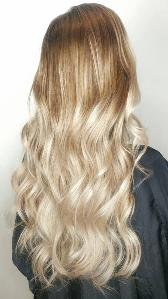 Warm Blonde Ombré On Long Waves