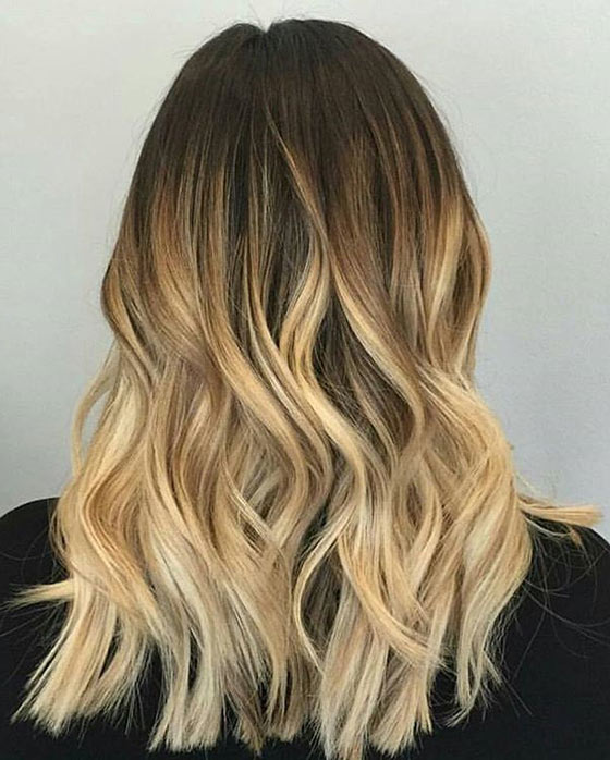 Warm Cool Blonde Ombré Blunt Cut Ends