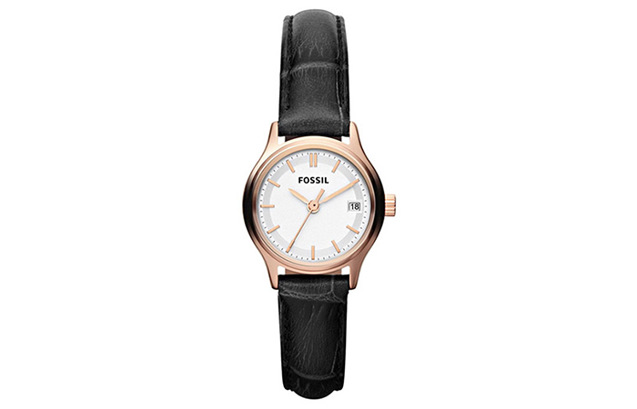 Best Fossil Watches For Indian Women - 10. White Analog Watch With Black Strap