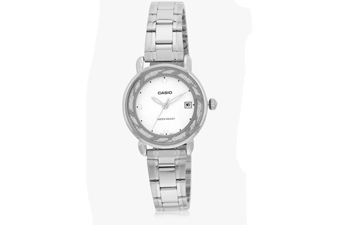 Best Selling Casio Watches For Women - 8. White Stainless Steel Analog Watch