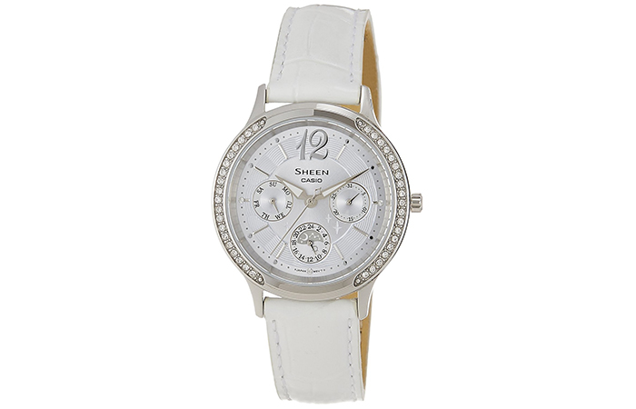 Most Popular Casio Watches For Women - 15. White Strap Sheen Multi-Function Watch