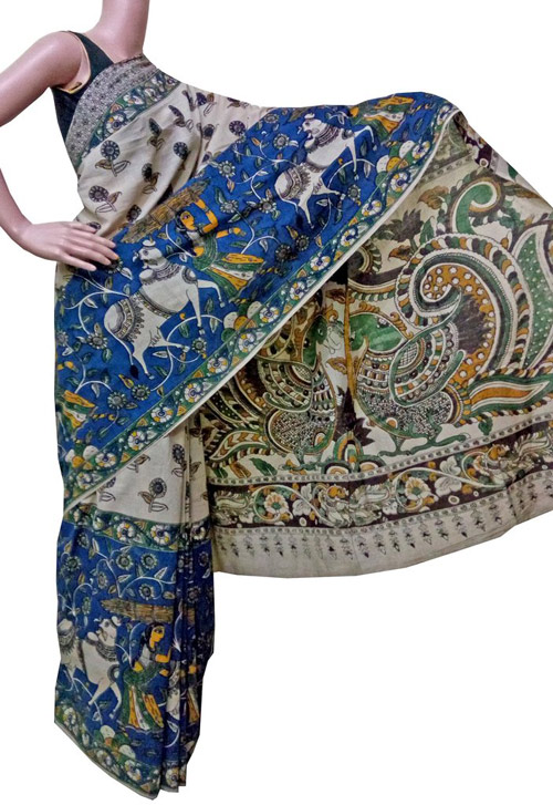 Kalamkari sarees with matching blouse designs - Beige-And-Blue-Saree-With-Peacock-Pallu