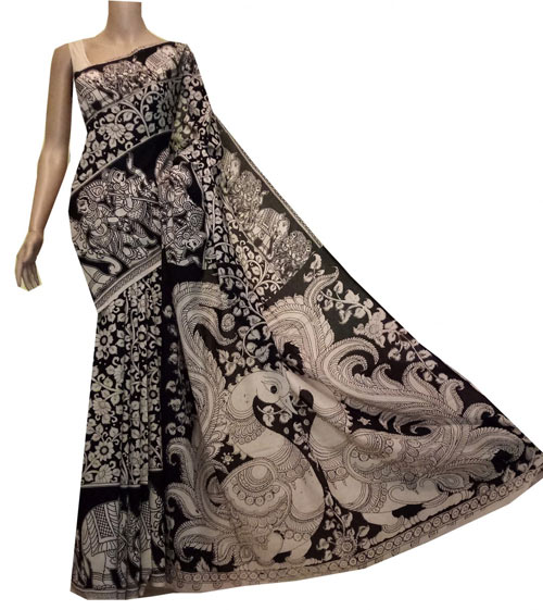 Kalamkari sarees with matching blouse designs - Black-And-Beige-Saree-With-Floral-Motif