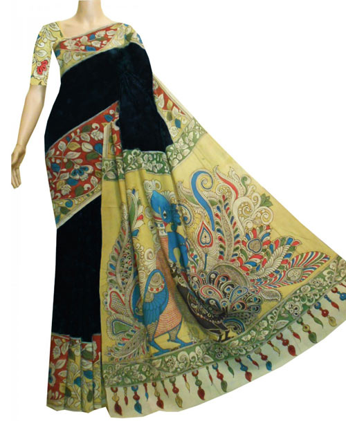 Kalamkari sarees with matching blouse designs - Black-And-Yellow-Crepe-Saree