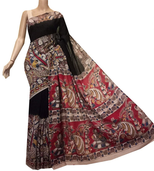 Kalamkari sarees with matching blouse designs - Black-Kalamkari-Saree-With-Procession-Border
