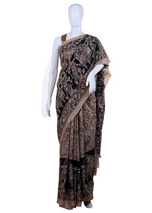 Kalamkari sarees with matching blouse designs - Black-Pen-Kalamkari-Crepe-Saree