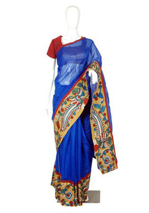 Kalamkari sarees with matching blouse designs - Blue-Chanderi-Hand-Printed-Kalamkari-Saree