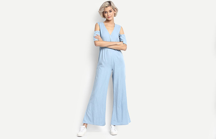 Blue-Cold-Shoulder-Baggy-Jumpsuit