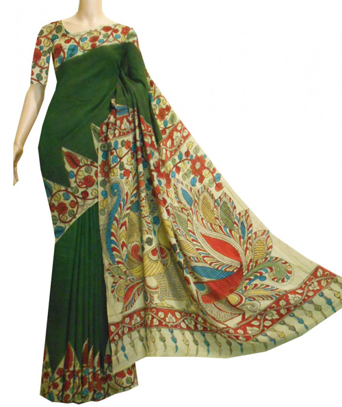 Kalamkari sarees with matching blouse designs - Bottle-Green-Crepe-Kalamkari-Saree