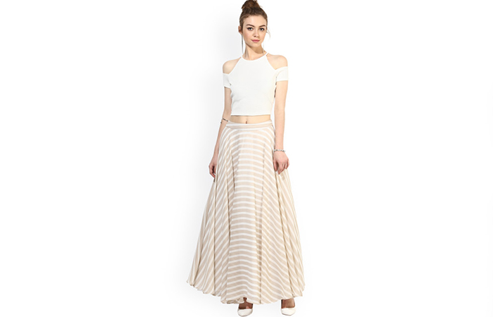 Cold-Shoulder-Crop-Top-And-Skirt