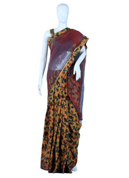 Kalamkari sarees with matching blouse designs - Cotton-And-Net-Half-And-Half-Kalamkari-Saree