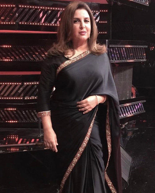 Farah-Khan's-Charcoal-Black-Saree