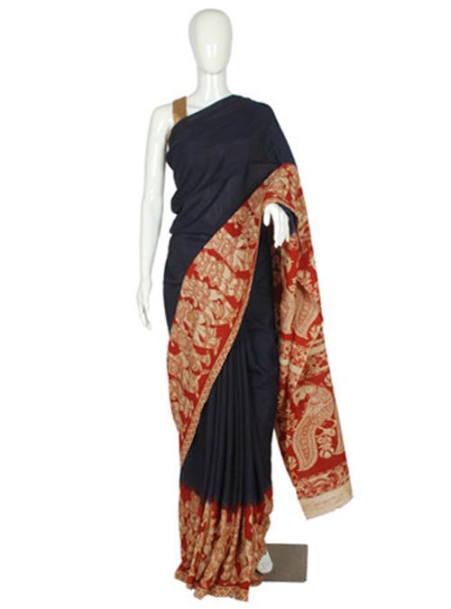 Kalamkari sarees with matching blouse designs - Kalamkari-Printed-Khadi-Silk-Saree