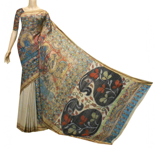 Kalamkari sarees with matching blouse designs - Kalamkari-Printed-Saree-In-Kosa-Silk