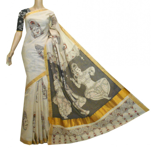Kalamkari sarees with matching blouse designs - Kerala-Cotton-Saree-With-Kalamkari-Print