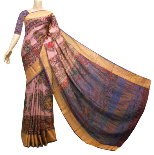 Kalamkari sarees with matching blouse designs - Pink-Uppada-With-Kalamkari-Print