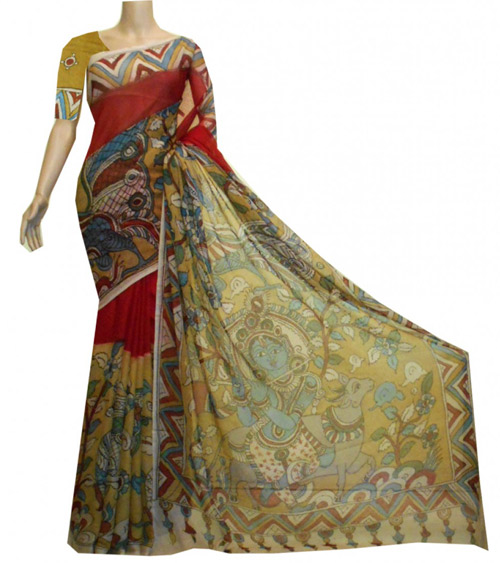 Kalamkari sarees with matching blouse designs - Red-Georgette-Kalamkari-Saree