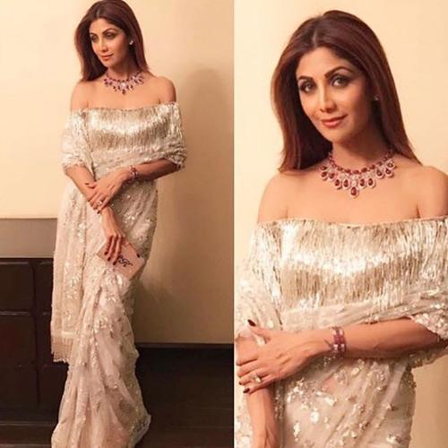 Shilpa-Shetty's-Gold-Fringe-Saree