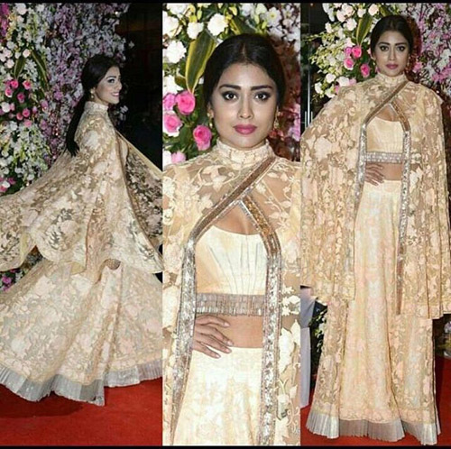 Shriya-Saran's-Sheer-Floral-Cape-And-Skirt