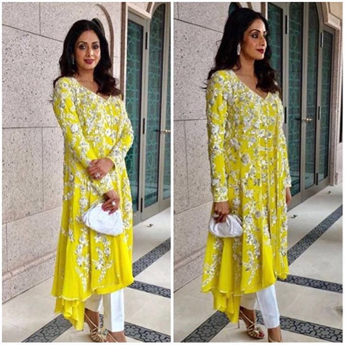 Sridevi-Kapoor's-Yellow-Embroidery-Kurta-Set