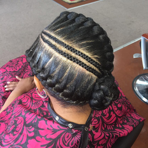 16. Center Parted Goddess Braids Bun