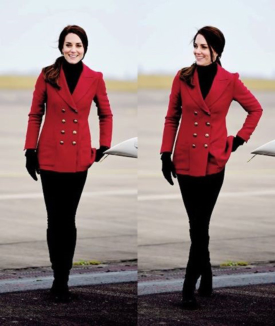 2. Kate Middleton In A Red Jacket