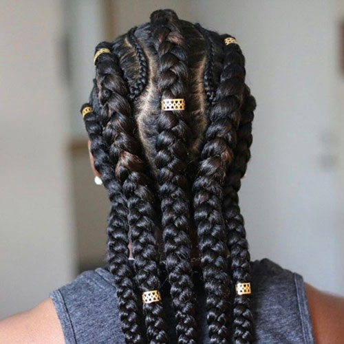 3. Mixed Cornrows And Goddess Braids