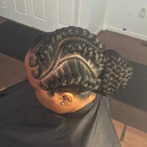 9. Swirly Goddess Braids Bun