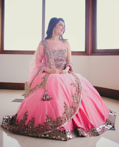 10. Candy Pink Lehenga With Sequined Work