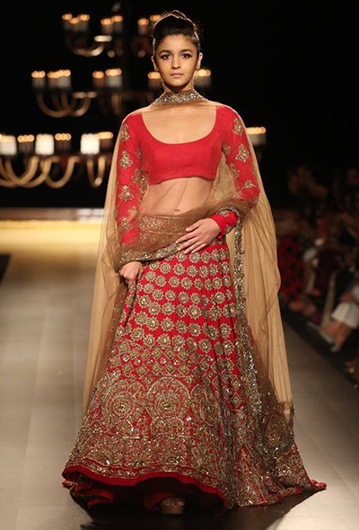 2. Alia Bhatt Wearing Red Embroidered Lehenga