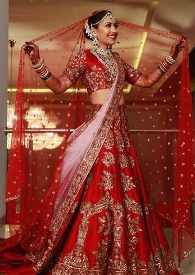 2. Classic Red And Soft Pink Lehenga