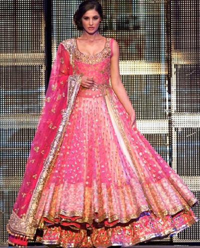 4. Nargis Fakhri In Candy Pink Studded Lehenga