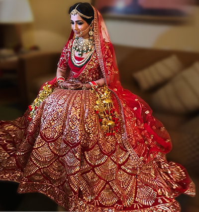 4. Red Lehenga With Gold Work