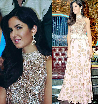 6. Katrina Kaif In Sequined Top And Embroidered Skirt
