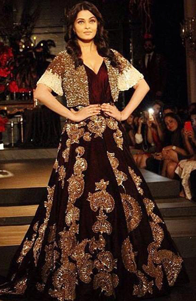 8. Aishwarya Rai In A Royal Indo-Western Wedding Gown
