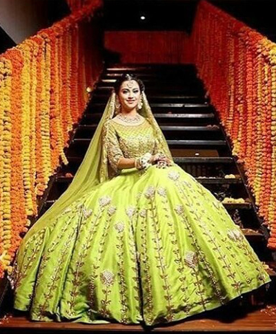 9. Mint Green And Dull Gold Lehenga