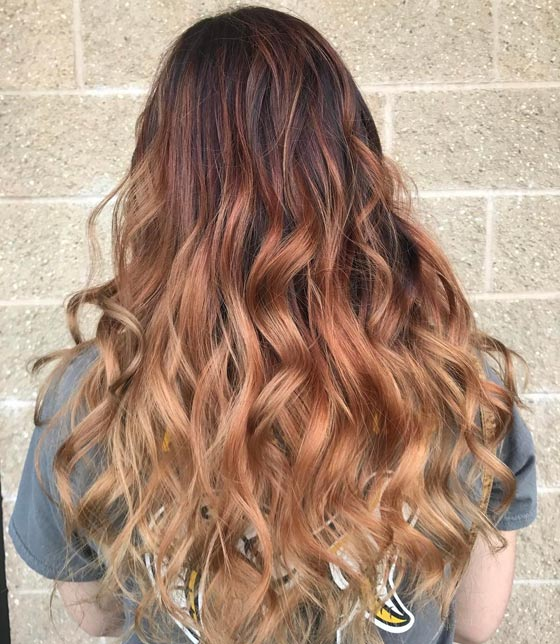 Burgundy-To-Honey-Blonde-Gradient