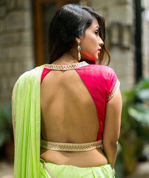 10. Backless Blouse With Border Piping
