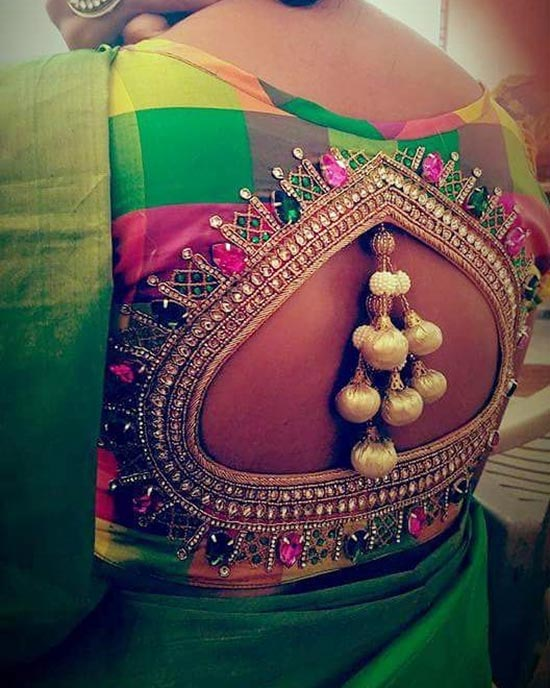 10. Pot Neck Kundan Embroidered Blouse