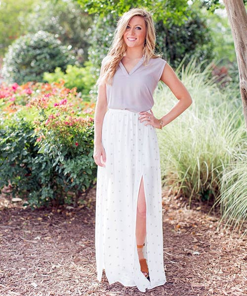 13. Light Maxi Skirt In Chiffon Fabric With A Side Split