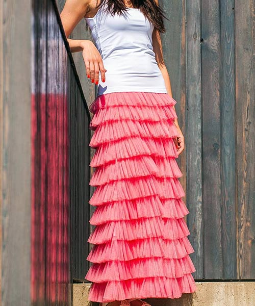 15. Tulle Maxi Skirt With Frills And A Plain Top
